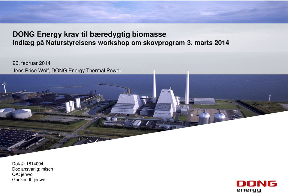februar 2014 Jens Price Wolf, DONG Energy Thermal Power