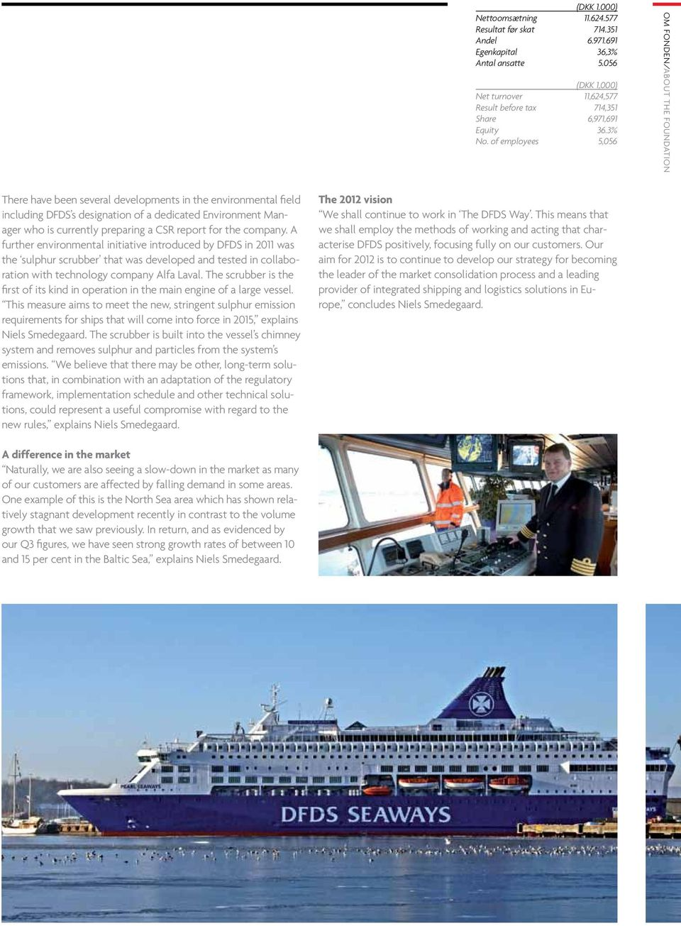 of employees 5,056 Om fonden/about the foundation There have been several developments in the environmental field including DFDS s designation of a dedicated Environment Manager who is currently