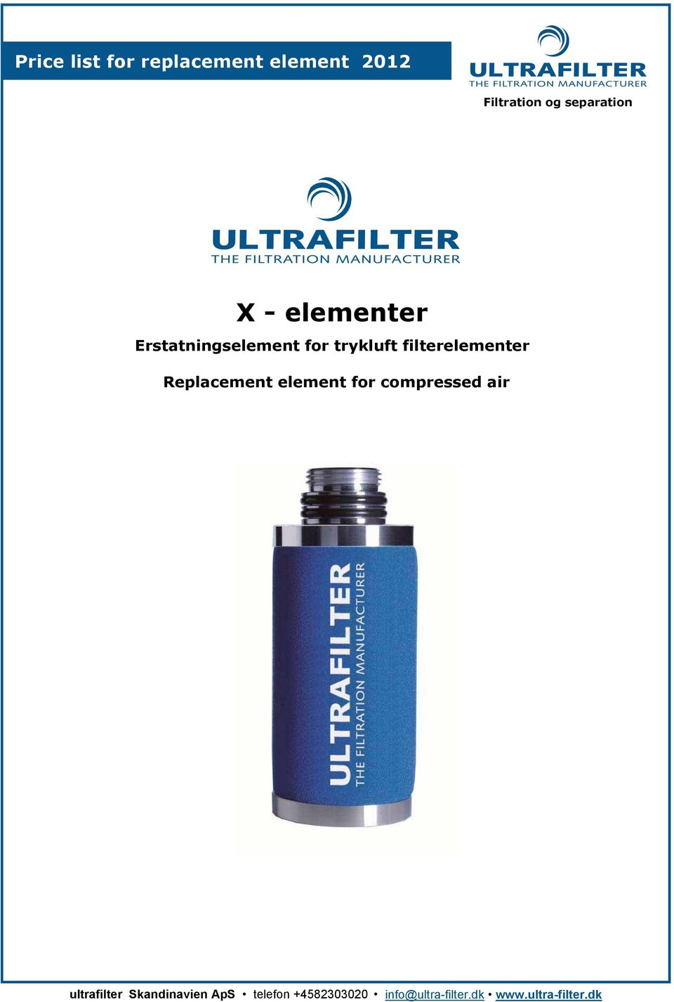 filterelementer Replacement element for compressed air