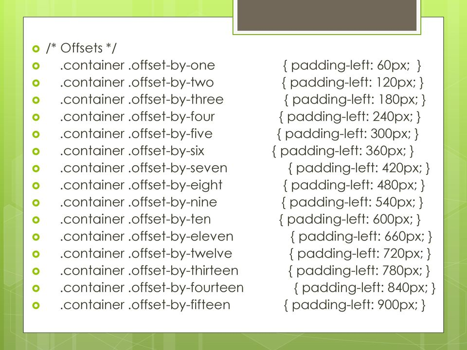container.offset-by-nine { padding-left: 540px; }.container.offset-by-ten { padding-left: 600px; }.container.offset-by-eleven { padding-left: 660px; }.container.offset-by-twelve { padding-left: 720px; }.