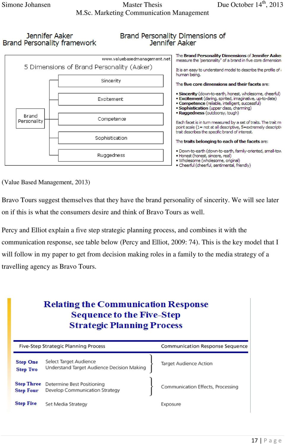 Percy and Elliot explain a five step strategic planning process, and combines it with the communication response, see table below