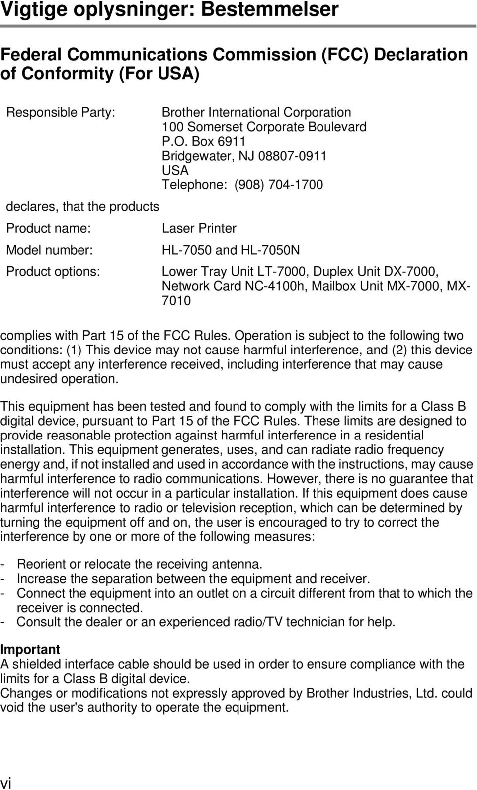 Duplex Unit DX-7000, Network Card NC-4100h, Mailbox Unit MX-7000, MX- 7010 complies with Part 15 of the FCC Rules.