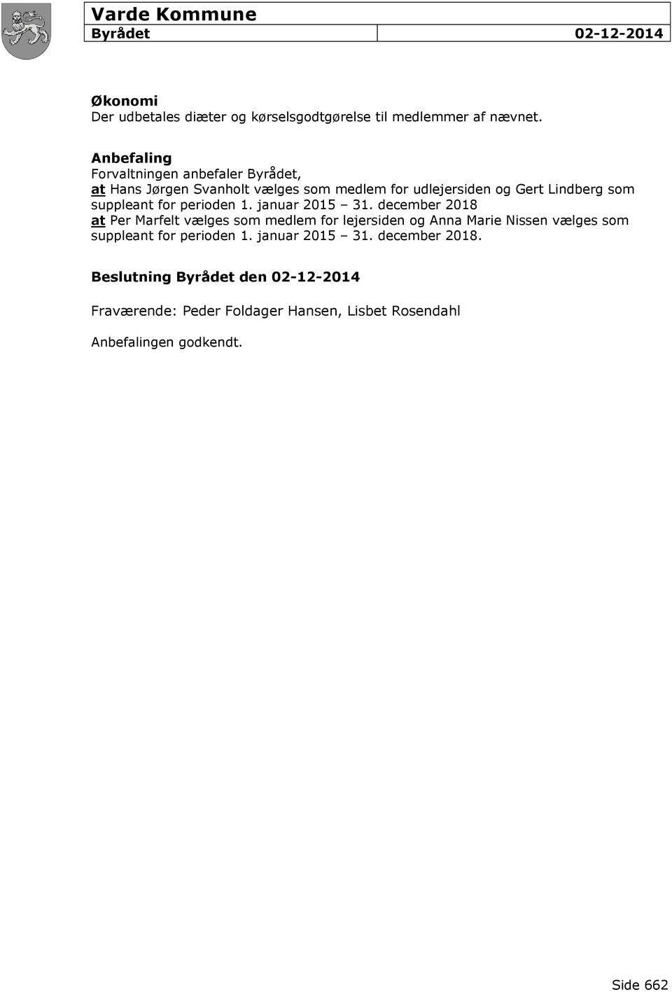suppleant for perioden 1. januar 2015 31.