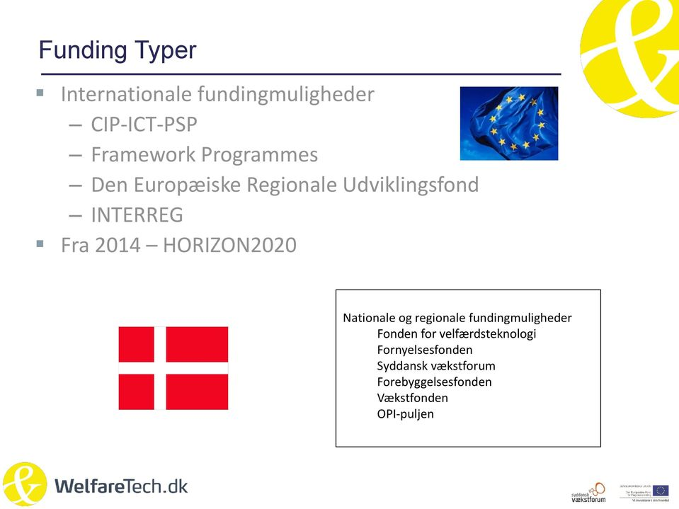 HORIZON2020 Nationale og regionale fundingmuligheder Fonden for