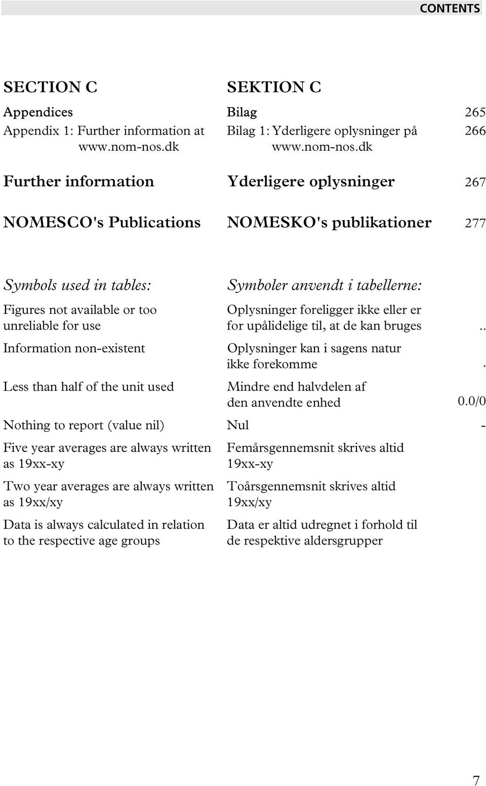 dk Further information Yderligere oplysninger 267 NOMESCO's Publications NOMESKO's publikationer 277 Symbols used in tables: Figures not available or too unreliable for use Information non-existent