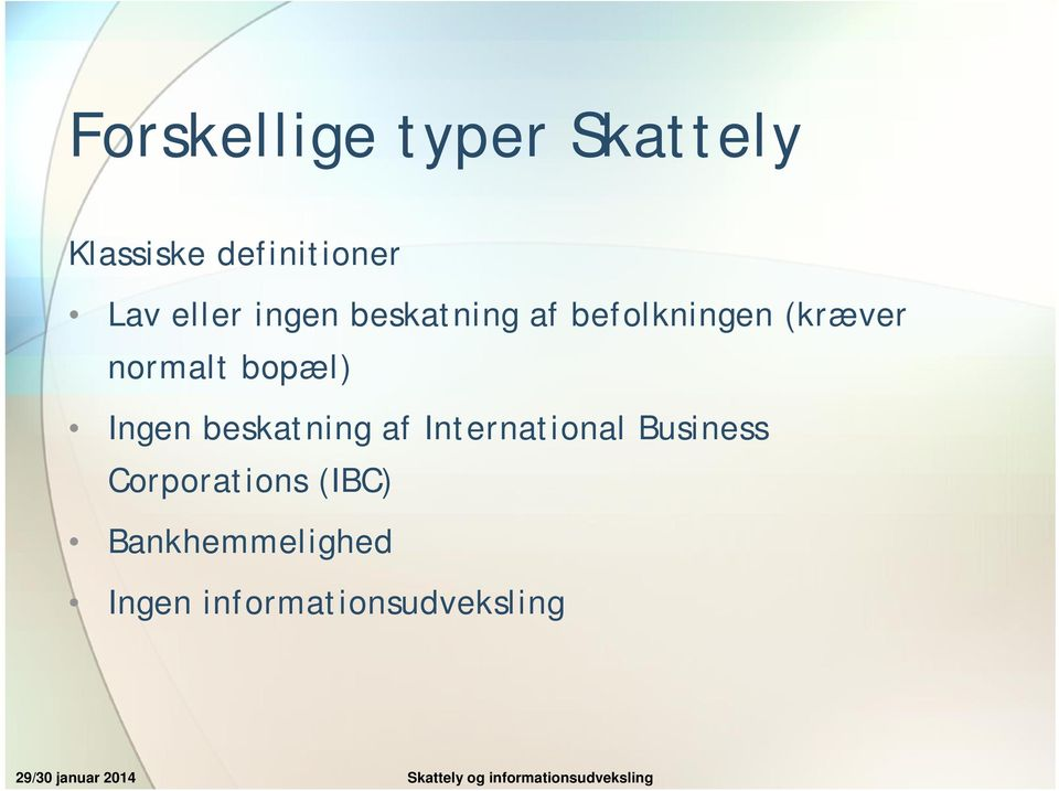 af International Business Corporations (IBC) Bankhemmelighed Ingen