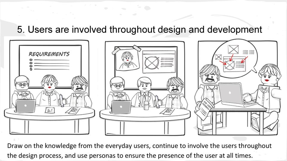 to involve the users throughout the design process, and