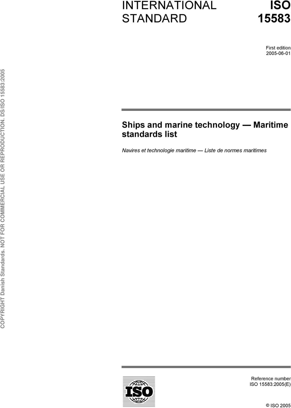 standards list Navires et technologie maritime Liste