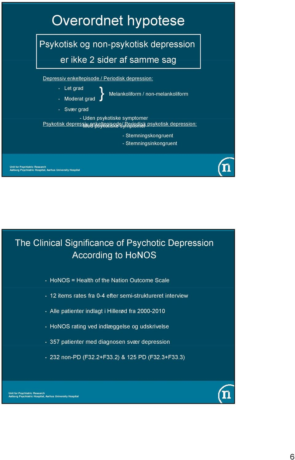 Stemningsinkongruent The Clinical Significance of Psychotic Depression According to HoNOS HoNOS = Health of the Nation Outcome Scale 12 items rates fra 0-4 efter semi-struktureret