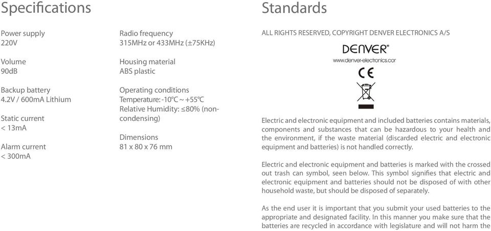 Humidity: 80% (noncondensing) Dimensions 81 x 80 x 76 mm Standards ALL RIGHTS RESERVED, COPYRIGHT DENVER ELECTRONICS A/S Electric and electronic equipment and included batteries contains materials,