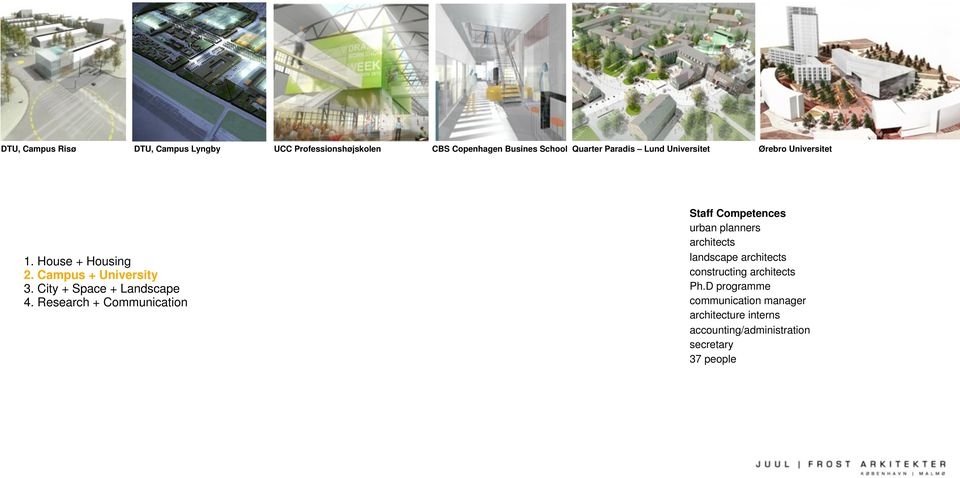 Research + Communication Staff Competences urban planners architects landscape architects constructing