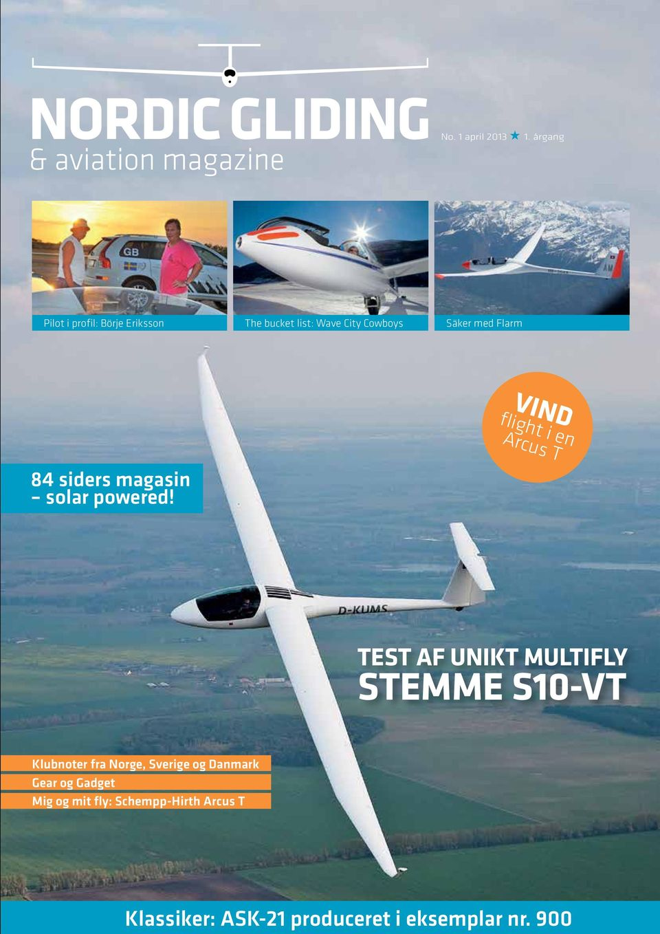 flight i en Arcus T 84 siders magasin solar powered!