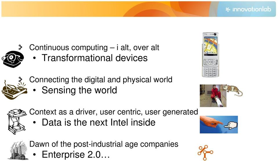 Context as a driver, user centric, user generated Data is the
