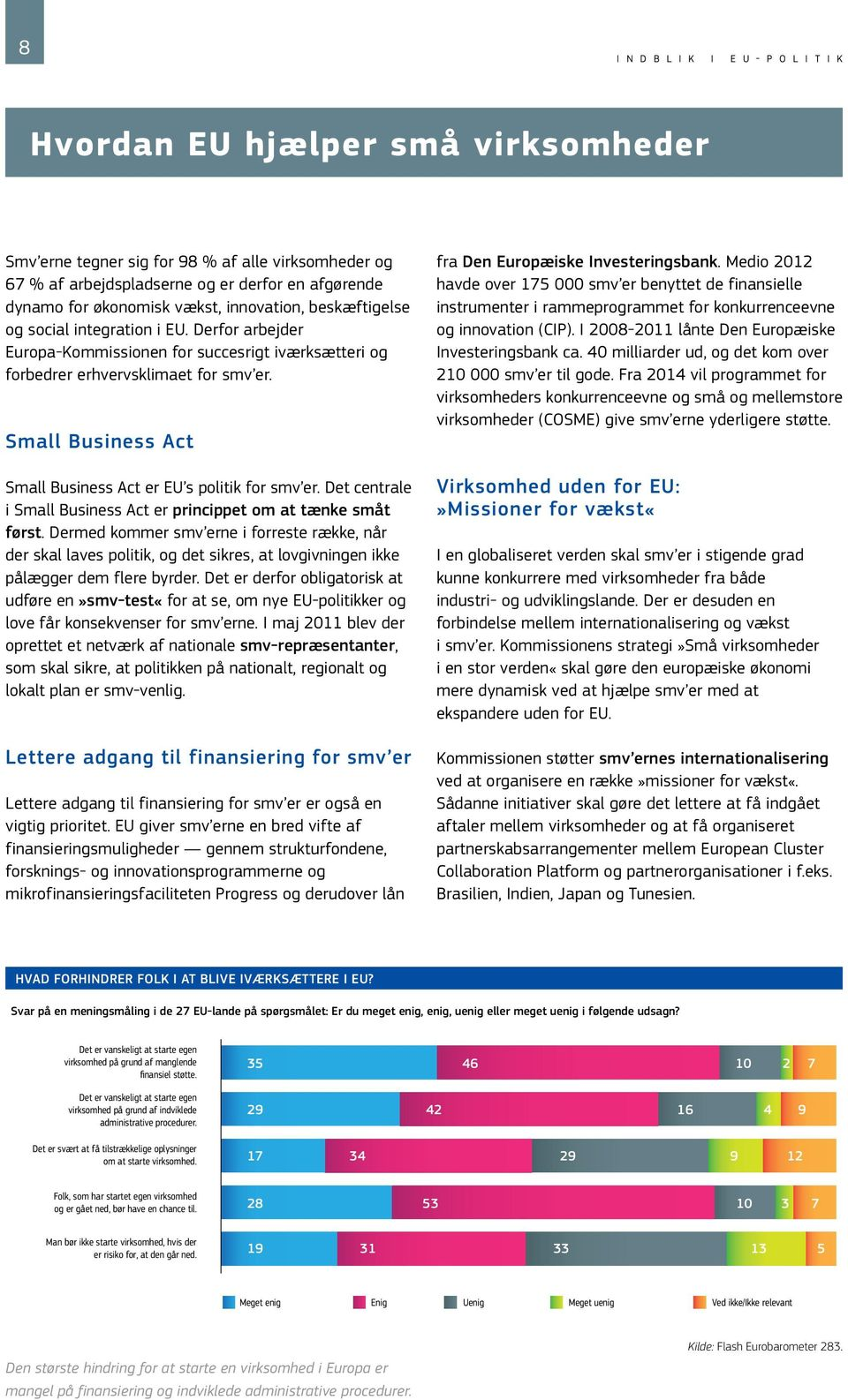 Small Business Act Small Business Act er EU s politik for smv er. Det centrale i Small Business Act er princippet om at tænke småt først.