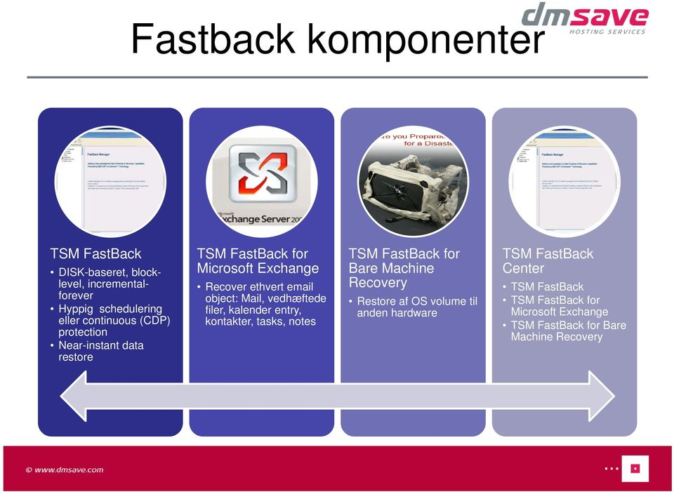 vedhæftede filer, kalender entry, kontakter, tasks, notes TSM FastBack for Bare Machine Recovery Restore af OS volume