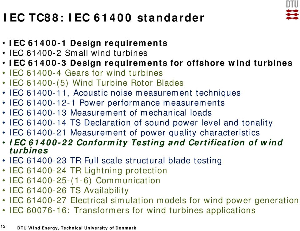 Declaration of sound power level and tonality IEC 61400-21 Measurement of power quality characteristics IEC 61400-22 Conformity Testing and Certification of wind turbines IEC 61400-23 TR Full scale