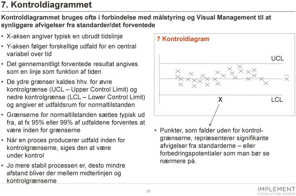 for øvre kontrolgrænse (UCL Upper Control Limit) og nedre kontrolgrænse (LCL Lower Control Limit) og angiver et udfaldsrum for normaltilstanden Grænserne for normaltilstanden sættes typisk ud fra, at