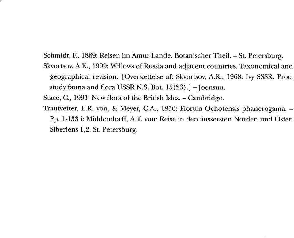 , 1968: Ivy SSSR. Proc. study fauna and flora USSR N.S. Bot. 15(23).] -Joensuu. Stace, C., 1991: New flora of the British Isles.