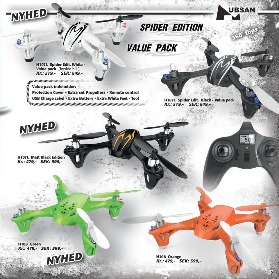 Remote control USB Charge cabel. Extra Battery. Extra White Feet. Tool H107L Spider Edit.