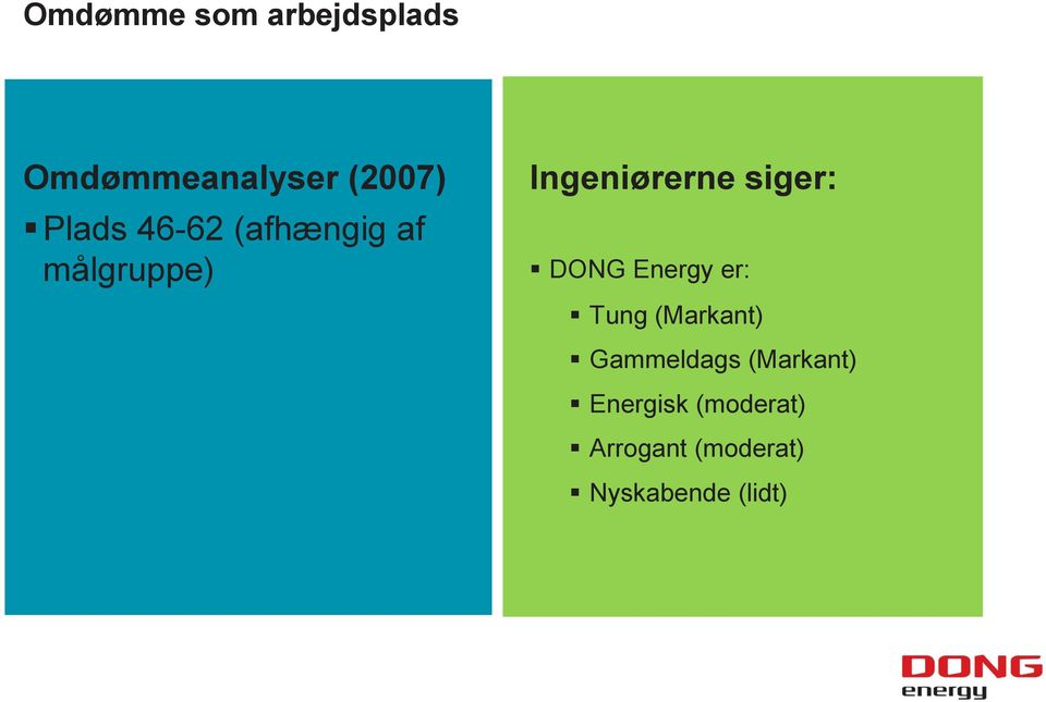 siger: DONG Energy er: Tung (Markant) Gammeldags