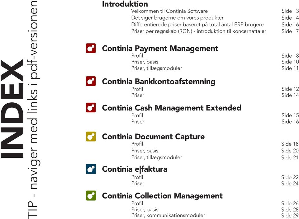 Profil Priser PAYMENT Continia Cash Management Extended DOCUMENT Continia Document Capture CAPTURE Profil Priser, basis Priser, tillægsmoduler Continia e faktura E FAKTURA Profil Priser COLLECTION