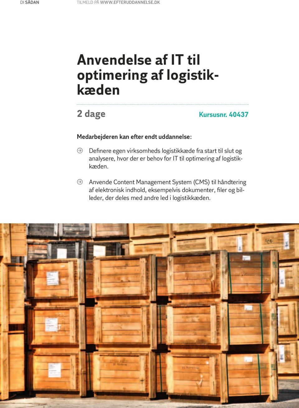 behov for IT til optimering af logistikkæden.