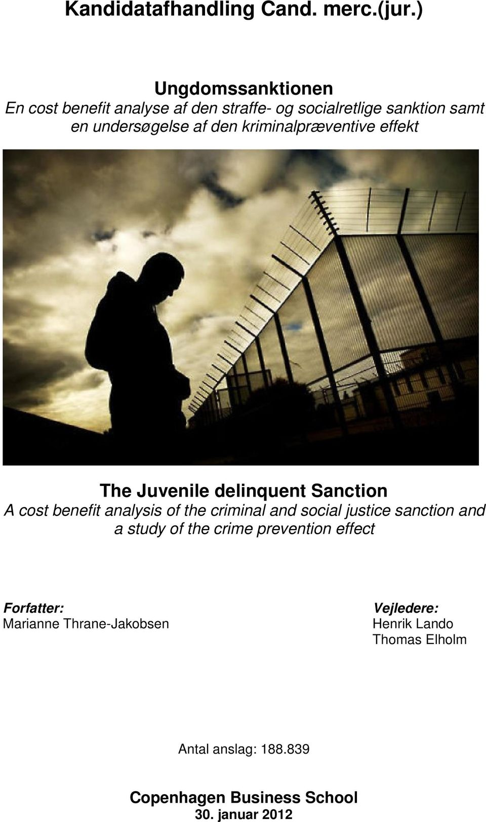 kriminalpræventive effekt The Juvenile delinquent Sanction A cost benefit analysis of the criminal and social