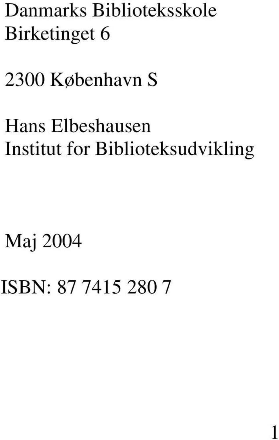 Hans Elbeshausen Institut for