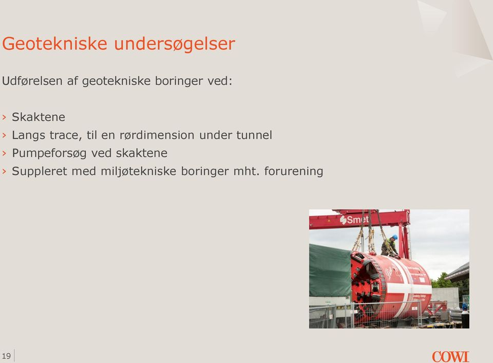 til en rørdimension under tunnel Pumpeforsøg ved