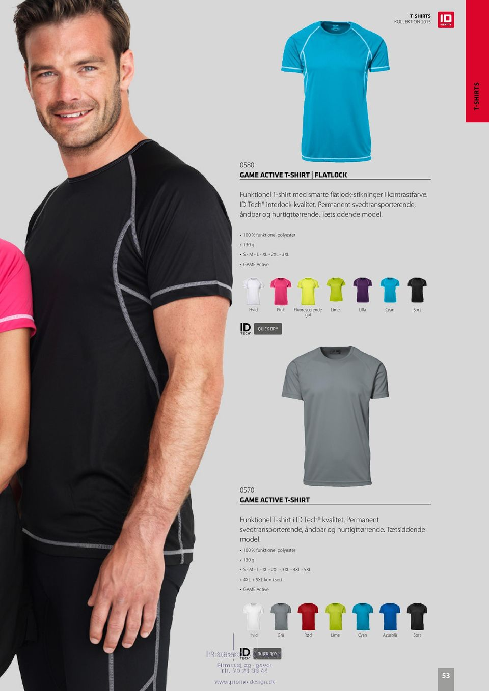130 g S - M - L - XL - 2XL - 3XL Hvid Pink Fluorescerende gul Lime Lilla Cyan 0570 GAME ACTIVE T-SHIRT Funktionel T-shirt i ID Tech