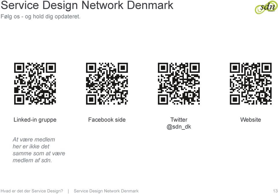 Linked-in gruppe Facebook side Twitter @sdn_dk