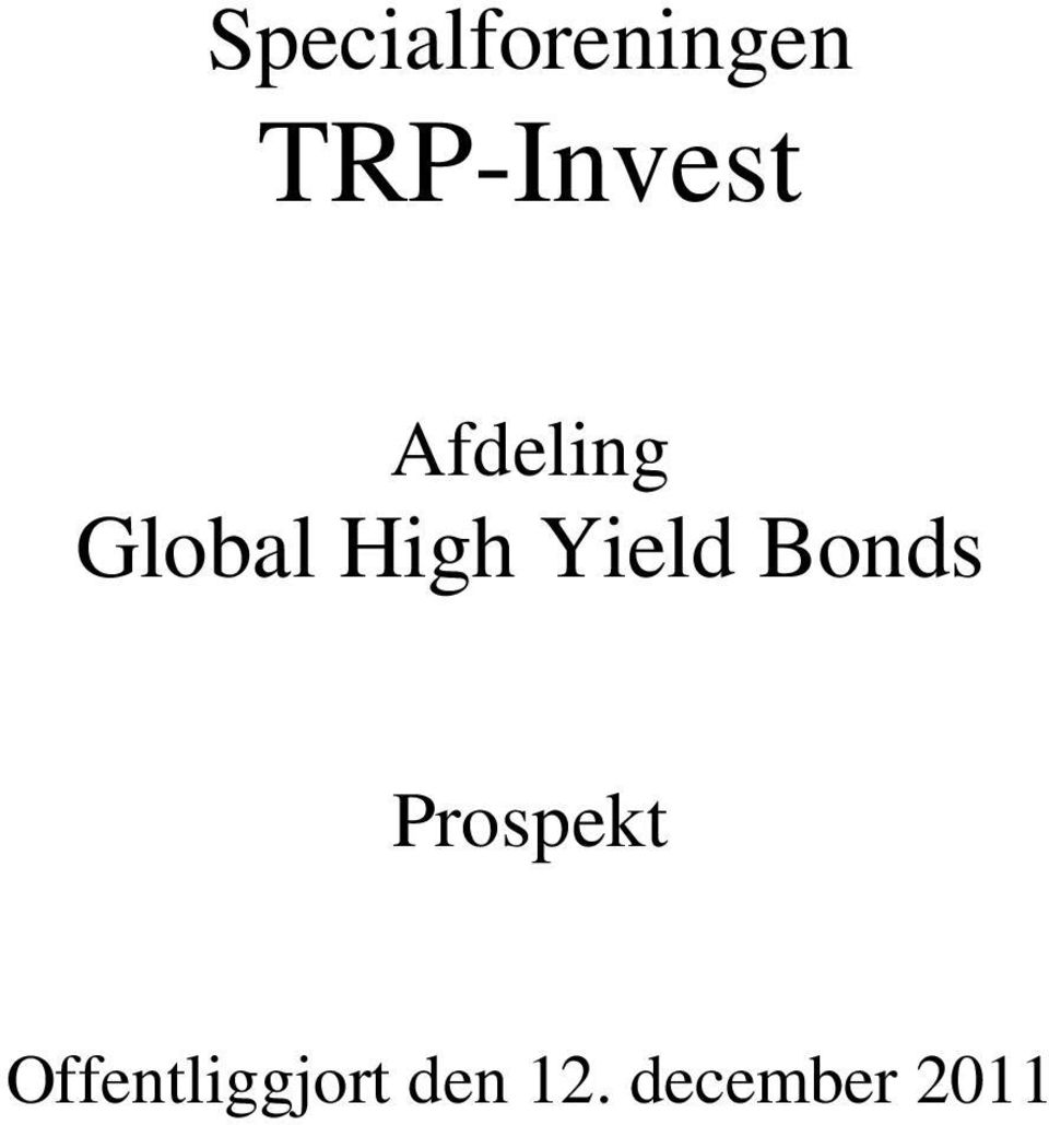 High Yield Bonds Prospekt