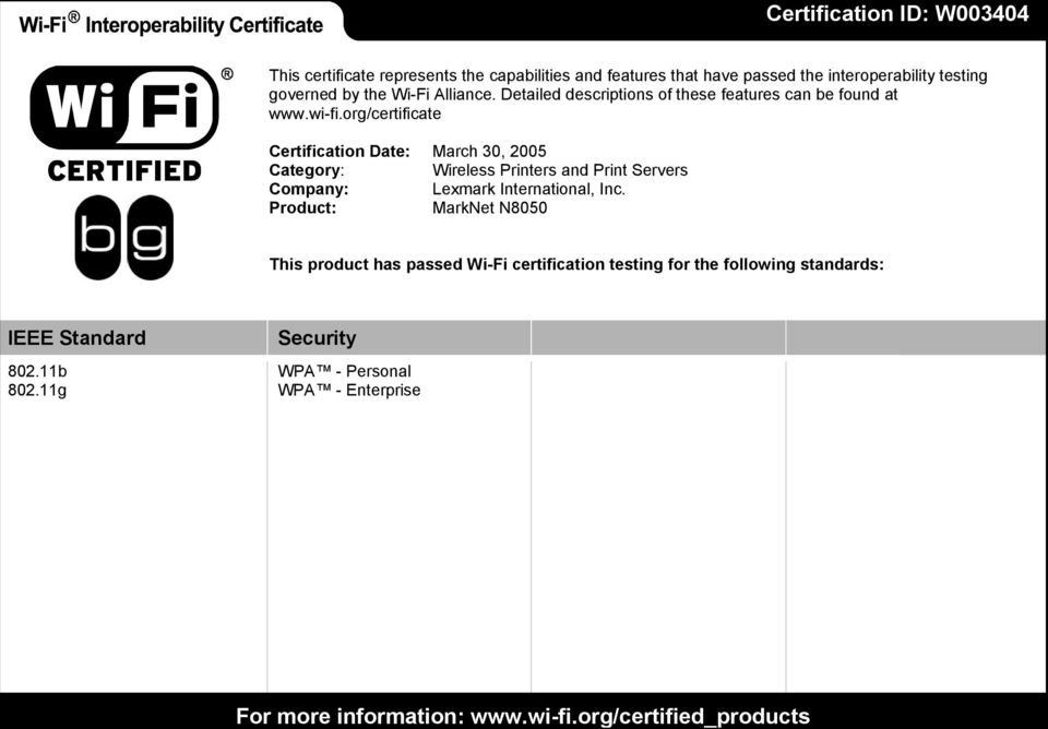 org/certificate Certification Date: March 30, 2005 Category: Wireless Printers and Print Servers Company: Lexmark International, Inc.