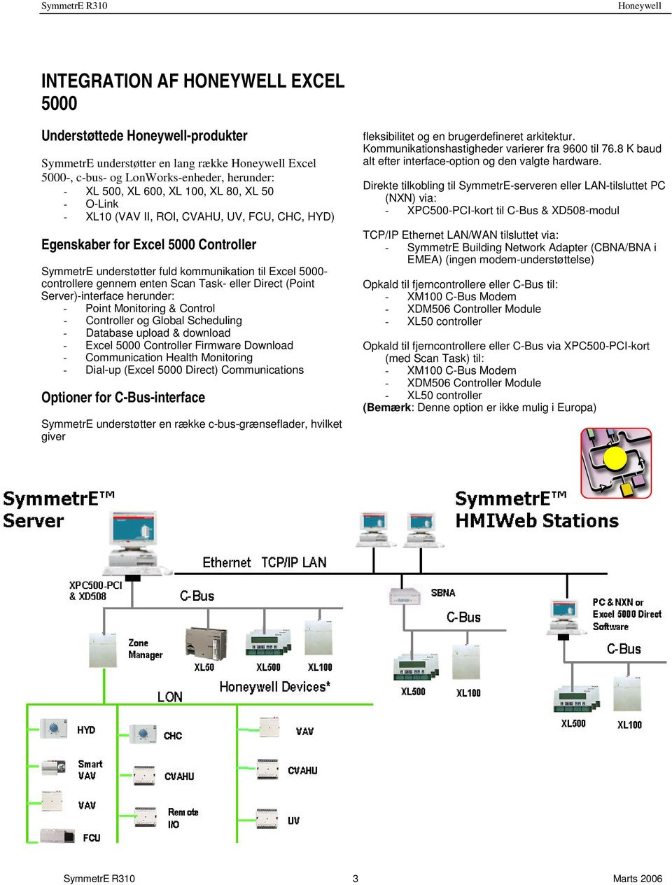 Server)-interface herunder: - Point Monitoring & Control - Controller og Global Scheduling - Database upload & download - Excel 5000 Controller Firmware Download - Communication Health Monitoring -