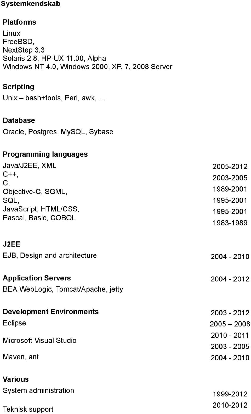 Objective-C, SGML, SQL, JavaScript, HTML/CSS, Pascal, Basic, COBOL 2005-2012 2003-2005 1989-2001 1995-2001 1995-2001 1983-1989 J2EE EJB, Design and architecture