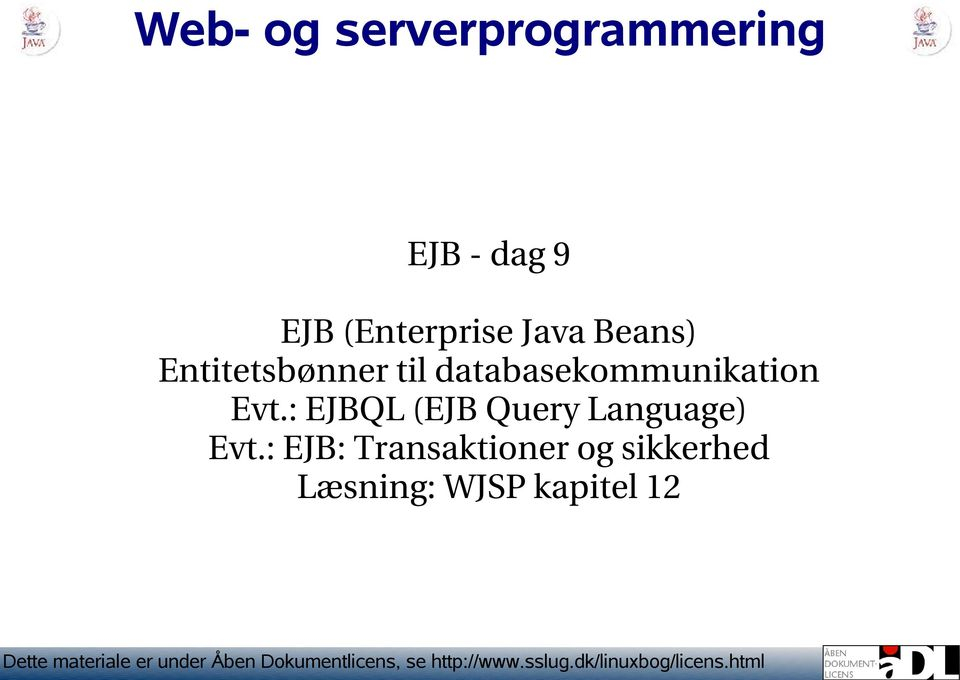 : EJBQL (EJB Query Language) Evt.