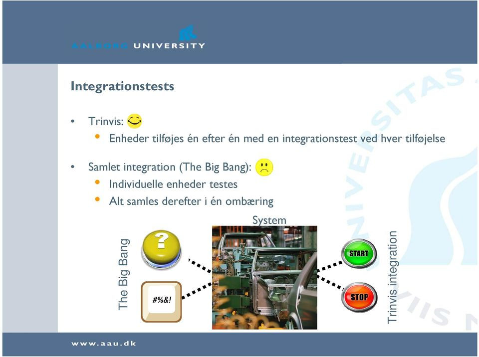integration (The Big Bang): Individuelle enheder testes
