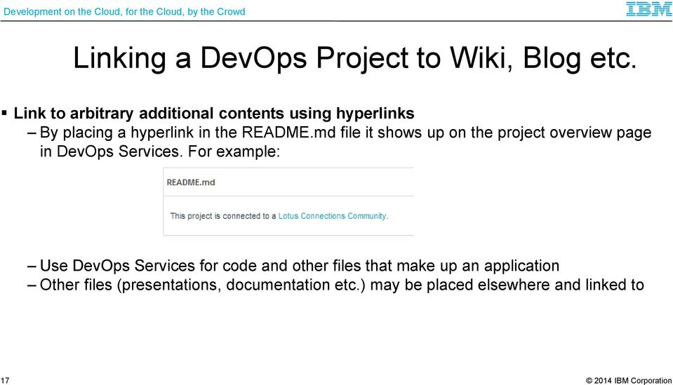 md file it shows up on the project overview page in DevOps Services.