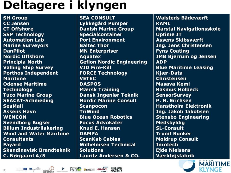 Nørgaard A/S SEA CONSULT Lykkegård Pumper Danish Marine Group Specialcontainer Port Environment Baltec Thor MN Enterpriser Aquatex Gefion Nordic Engineering VID Fire-Kill FORCE Technology VETEC