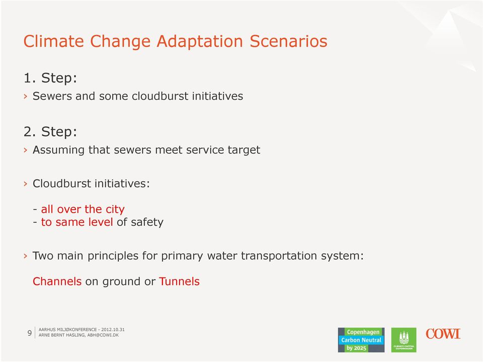 Step: Assuming that sewers meet service target Cloudburst initiatives: -