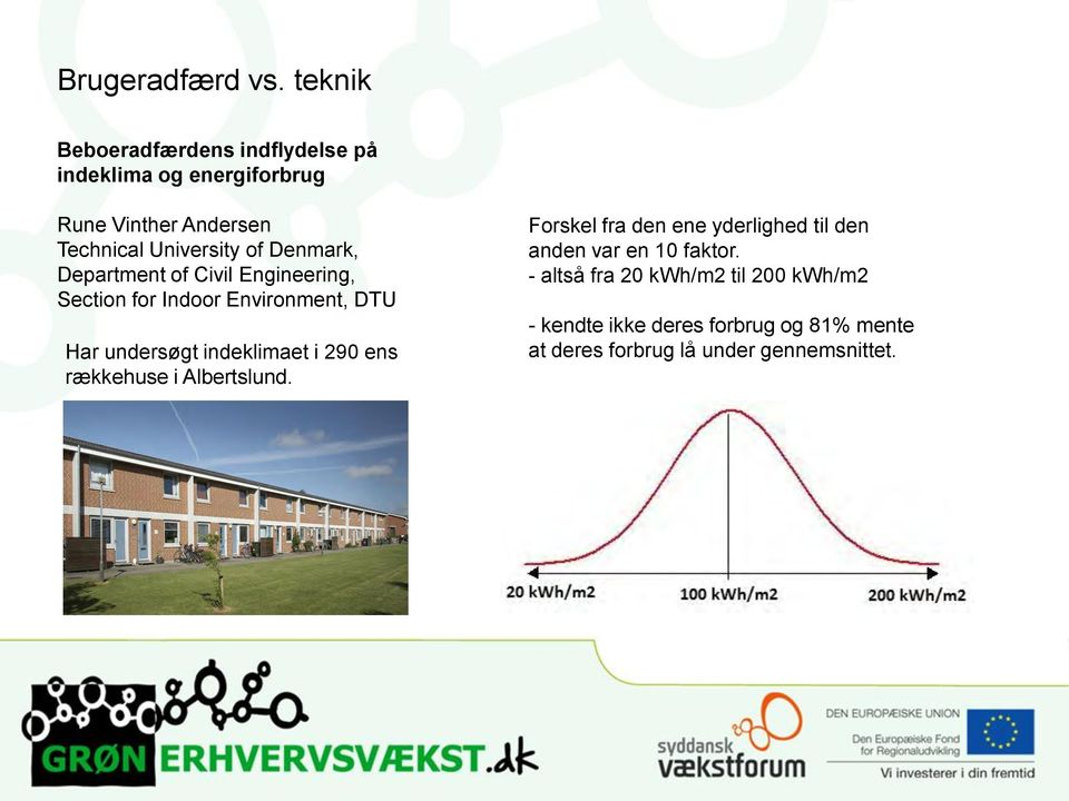 Denmark, Department of Civil Engineering, Section for Indoor Environment, DTU Har undersøgt indeklimaet i 290