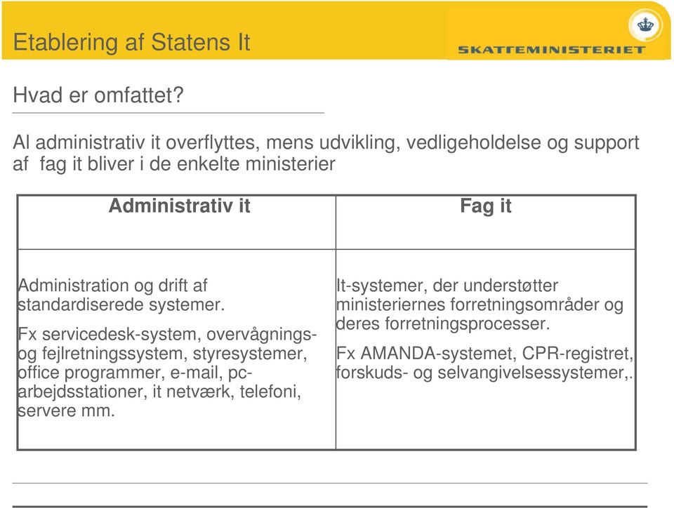 it Fag it Administration og drift af standardiserede systemer.