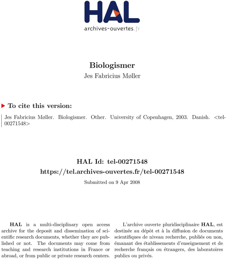 fr/tel-00271548 Submitted on 9 Apr 2008 HAL is a multi-disciplinary open access archive for the deposit and dissemination of scientific research documents, whether they are published or not.