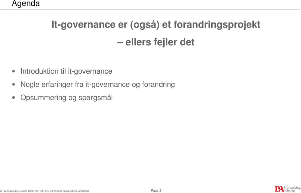 Introduktion til it-governance Nogle