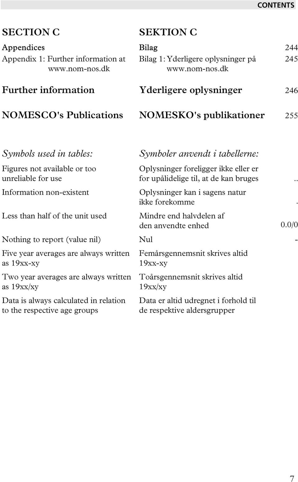 dk Further information Yderligere oplysninger 246 NOMESCO's Publications NOMESKO's publikationer 255 Symbols used in tables: Figures not available or too unreliable for use Information non-existent