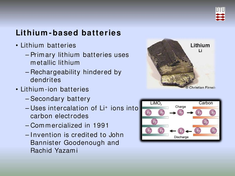 Secondary battery Uses intercalation of Li + ions into carbon electrodes
