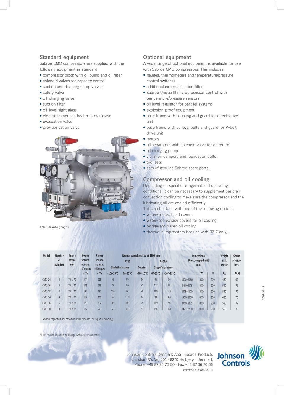 valve. A wide range of optional equipment is available for use with Sabroe CMO compressors.