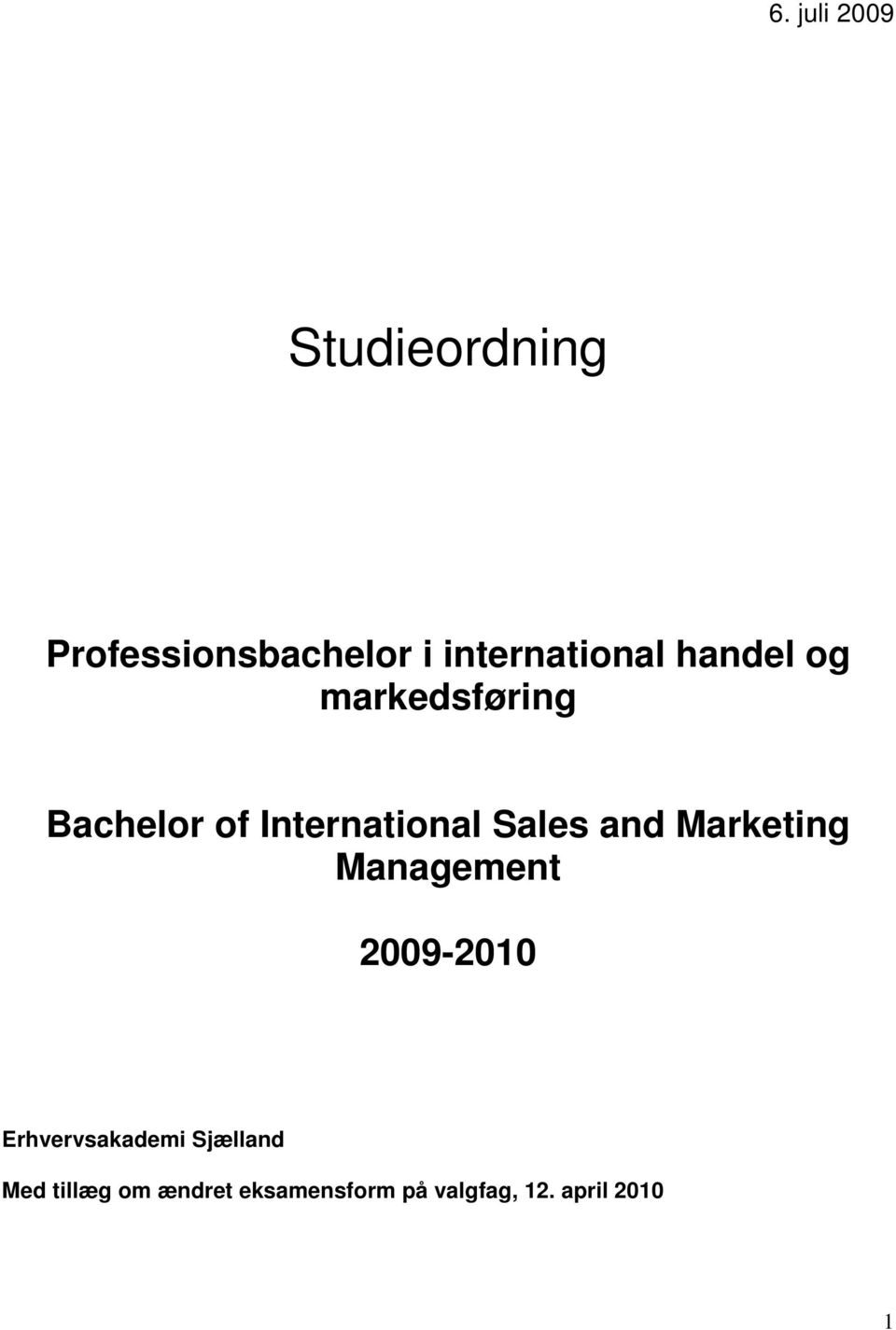 International Sales and Marketing Management 2009-2010
