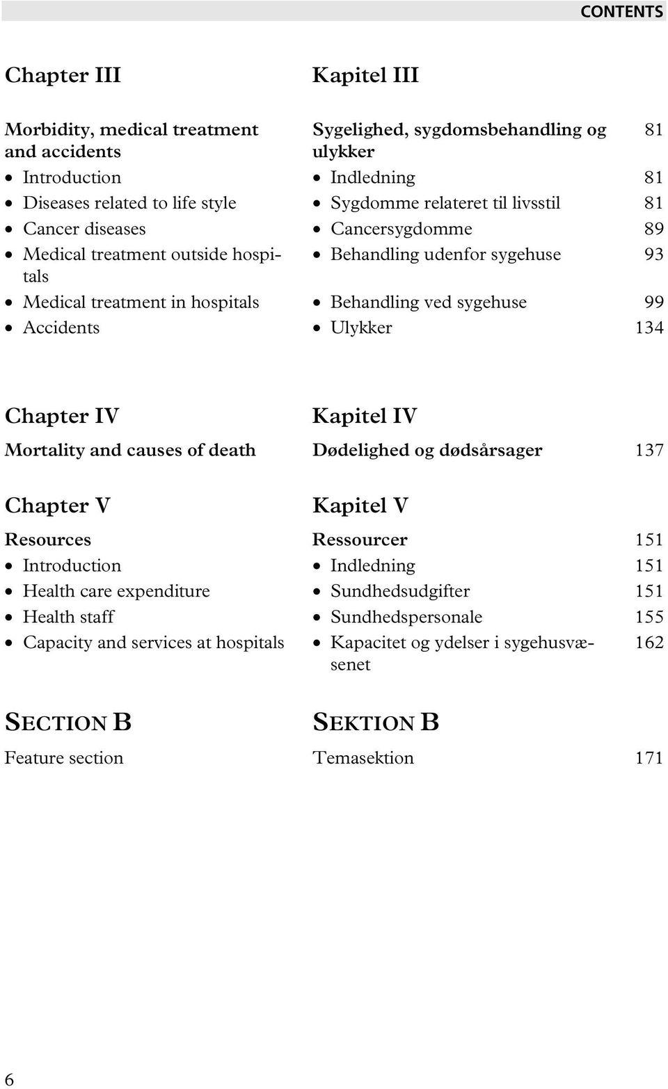 Accidents Ulykker 134 81 Chapter IV Kapitel IV Mortality and causes of death Dødelighed og dødsårsager 137 Chapter V Kapitel V Resources Ressourcer 151 Introduction Indledning 151 Health