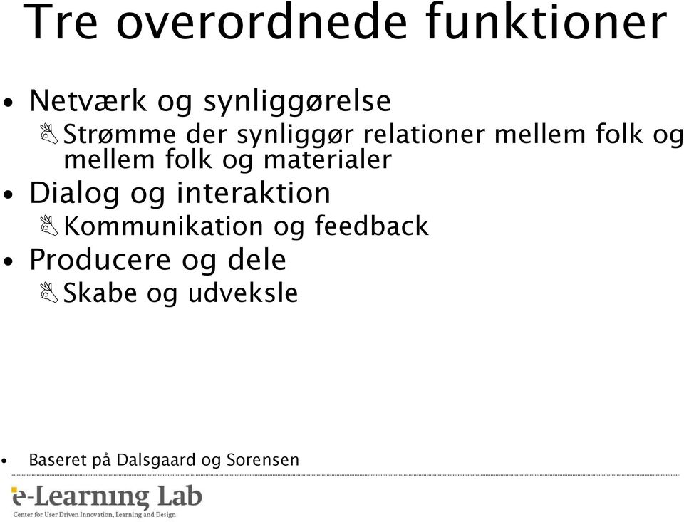 materialer Dialog og interaktion Kommunikation og feedback